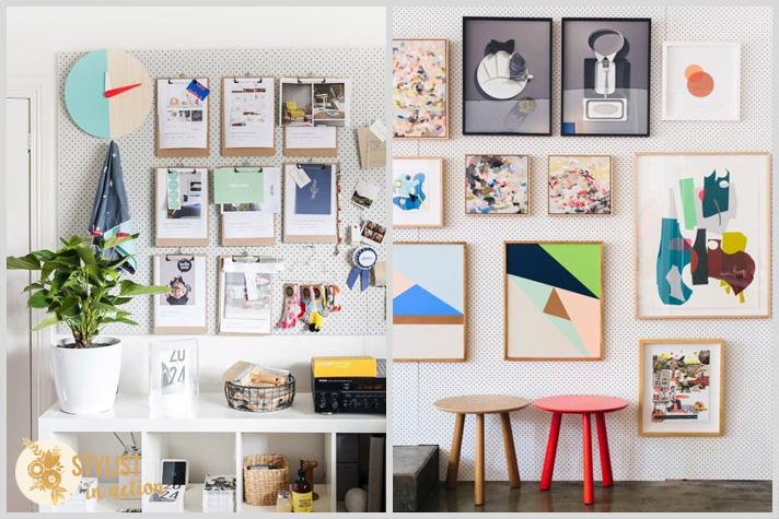 Gallery wall en un pegboard