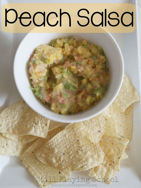 Super simple peach salsa recipe to cook with kids from Still Playing School