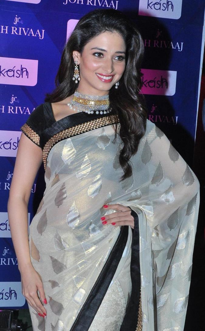 Tamannaah Bhatia Stills In White Saree During a Fashion Show Bangalore