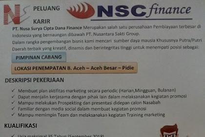 Lowongan Kerja di PT Nusa Surya Cipta Dana Finance