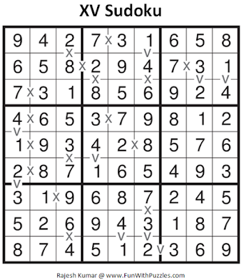 XV Sudoku (Daily Sudoku League #126) Solution