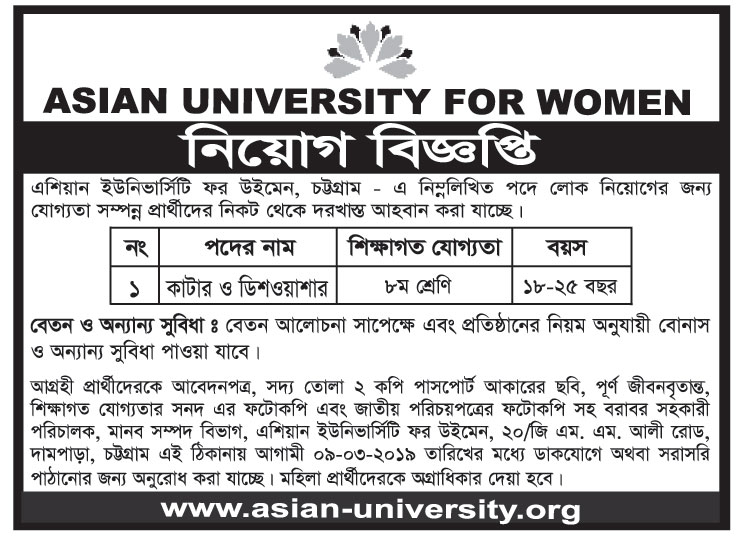 Asian University for Woman (AUW) Job Circular 2019