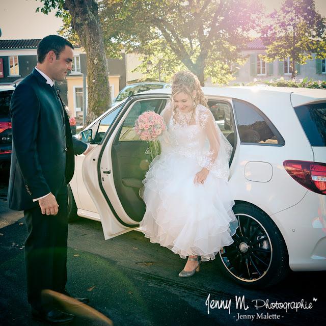 photo arrivée de la mariée, photo découverte des mariés