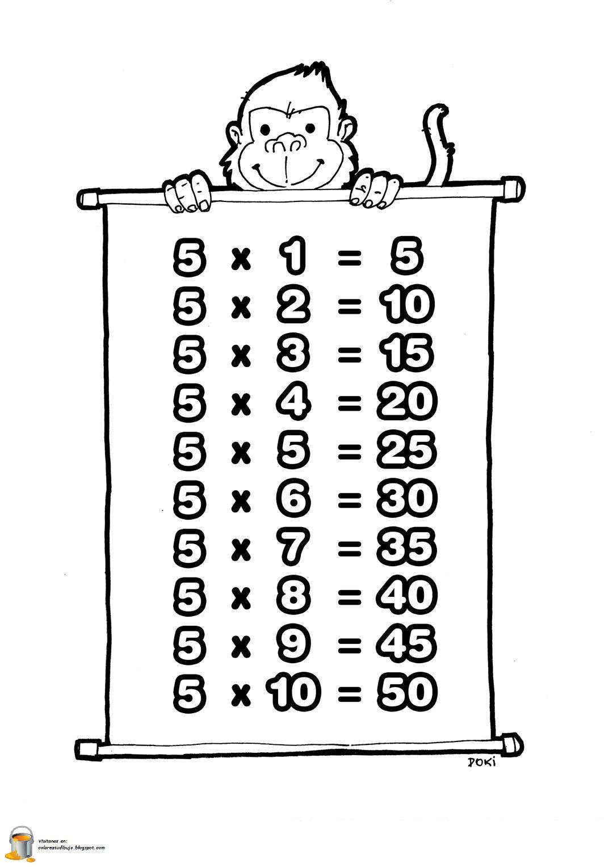 Colorea Tus Dibujos Tabla De Multiplicar Del Numero 5 Para