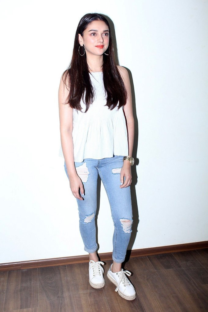 Aditi Rao Hydari Spotted During Promotional Interview For Film Bhoomi