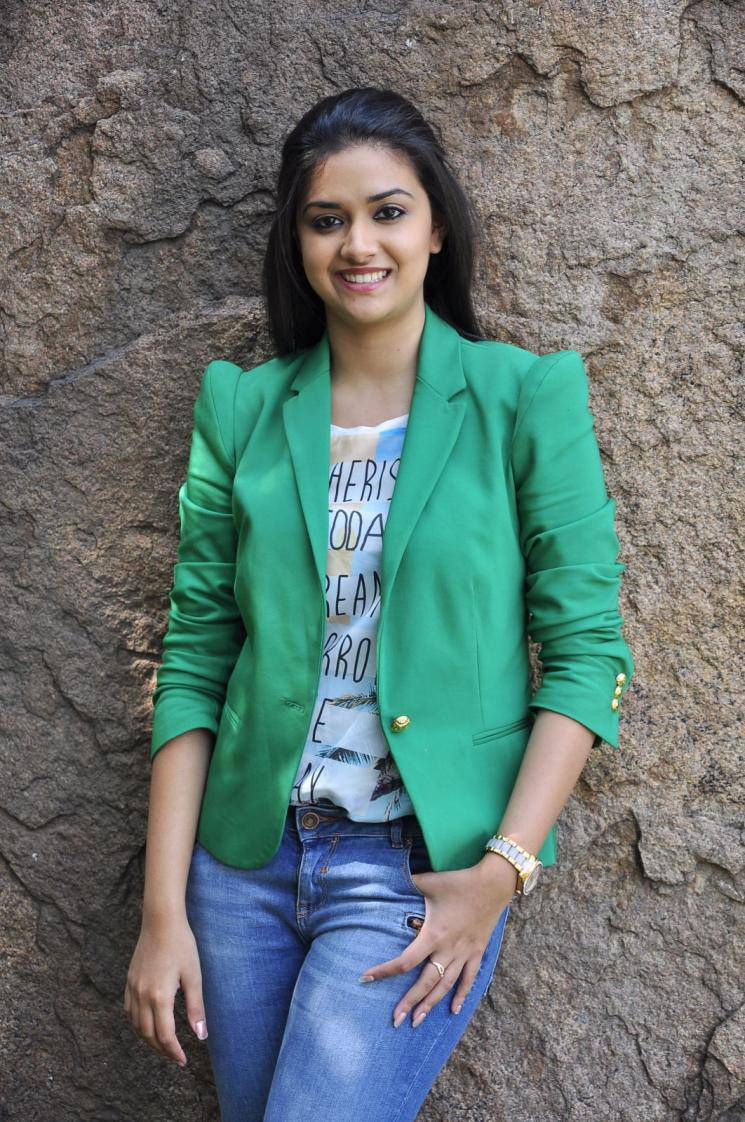 Tollywood Actress Keerthi Suresh In Blue Shirt Jeans