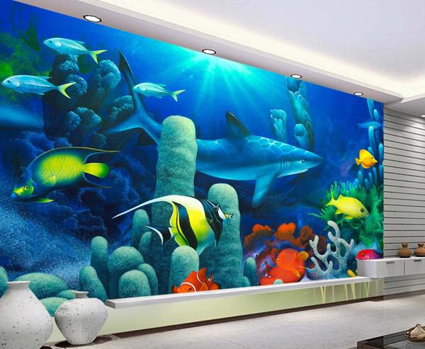 3D Tapetti akvaario tapetti haita vedenalainen kala akvaario tapetti valokuva veistos Valokuvatapetti