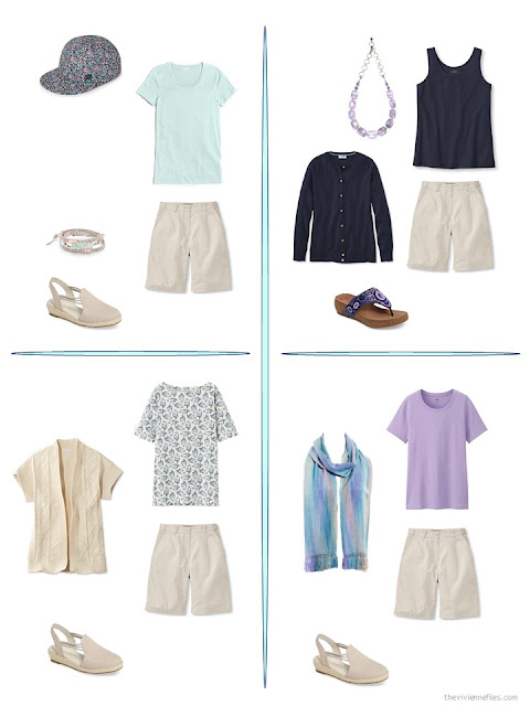four ways to wear beige shorts from a travel capsule wardrobe