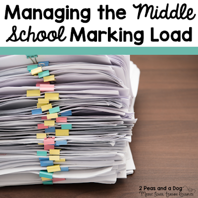 Tips for helping middle school teachers manage their marking load and organize their marking bin from the 2 Peas and a Dog blog.