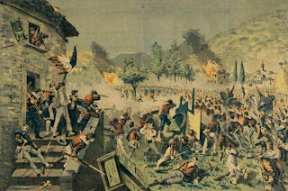A scene from the Battle of Mentana, part of the 1867 assault on Rome in which Fortis fought under Garibaldi