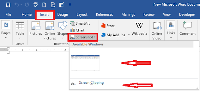 How to take a screen shot with MS office 2016?