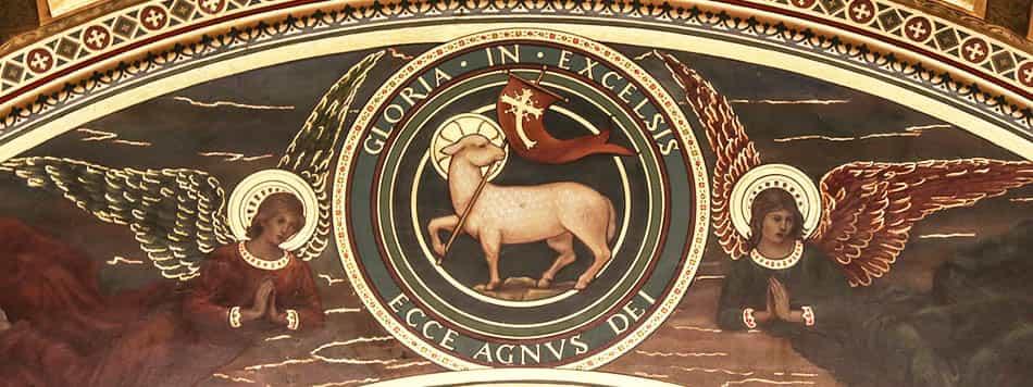 A, Agnus Dei, din, Dini semboller, Dinlerde kuzu, hristiyanlık, İbrahimi dinlerde koyun ve kuzu, islamiyet, Kurban ayini, Kurban vermek, mitoloji, Mitolojide kuzu, Tanrının Kuzusu, yahudilik,