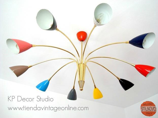 lámparas techo vintage stilnovo italia años 50 con focos de colores muchos brazos