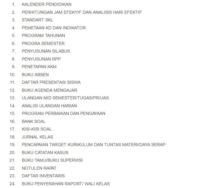 24 Administrasi Guru Lengkap dalam 1 File Excel