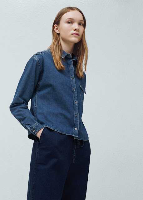 denim shoulder tie shirt, mango denim shirt,