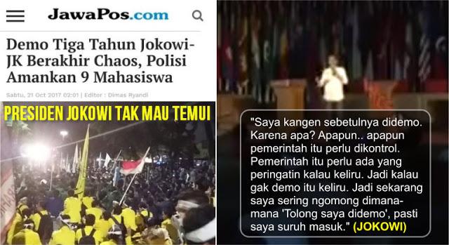 Katanya Kangen Di Demo, Mahasiswa Datang ke Istana Pak Jokowi Gak Mau Temui, Malah Dibubarkan Paksa