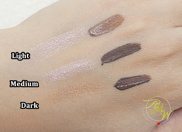 a swatch photo of Sleek MakeUP Brow Intensity Review in shades Light, Medium and Dark.