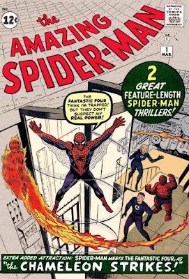 Amazing Spider-Man #1, Spidey is trapped in a glass tube at the Baxter Building as the Fantastic Four prepare to fight him
