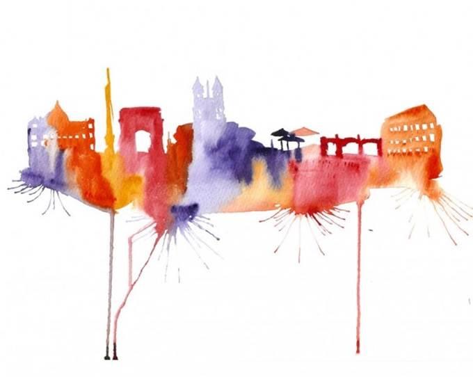 watercolor cityscape rome italy