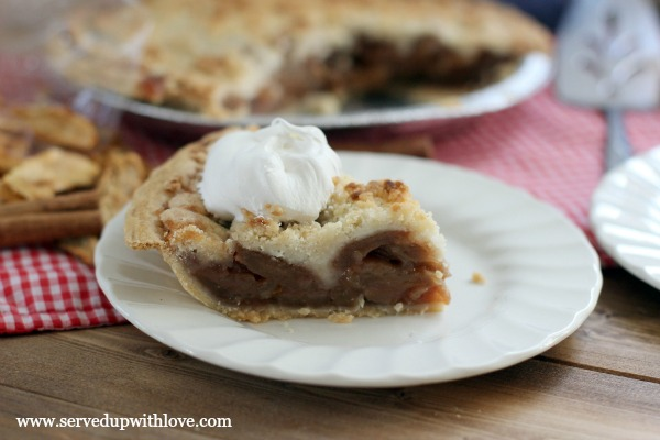 Butter Crumble Apple Schnitz Pie recipe from Served Up With Love