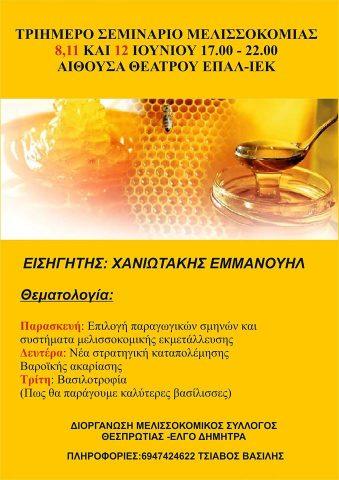 Τριήμερο σεμινάριο μελισσοκομίας στην Ηγουμενίτσα