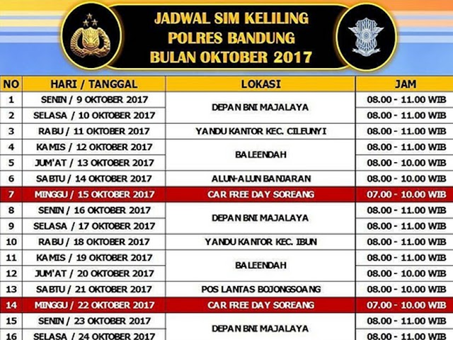 Jadwal SIM Keliling Polres Bandung Bulan Oktober 2017