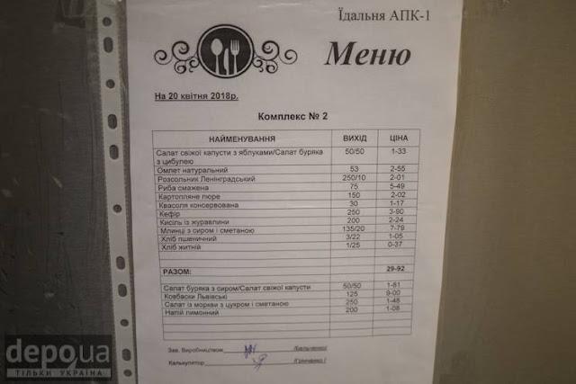Ціни у їдальні Чорнобильської атомної станції
