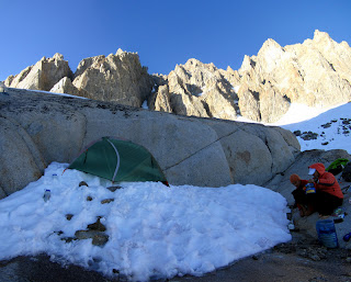 Dinner and camp in the Palisade Basin.
