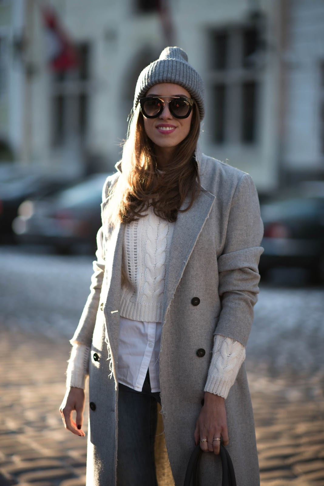 grey beanie winter layered fashion