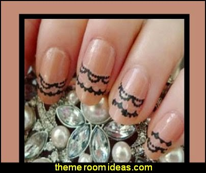 Trendy 3D Lace Nail Stickers Black White Lace Lace Nail Art