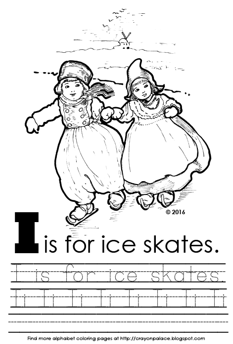 Description Of Coloring Page Letter Ii Identification Practice Tracing The Upper And Lower Case Overalls Two Little Dutch Children Ice
