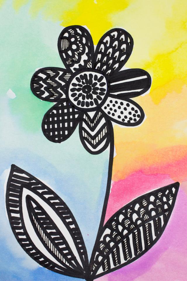 Pretty Zentangle Flower Art Pink Stripey Socks