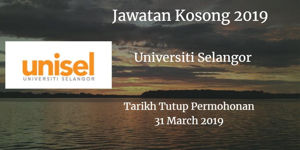 Jawatan Kosong UNISEL 31 March 2019