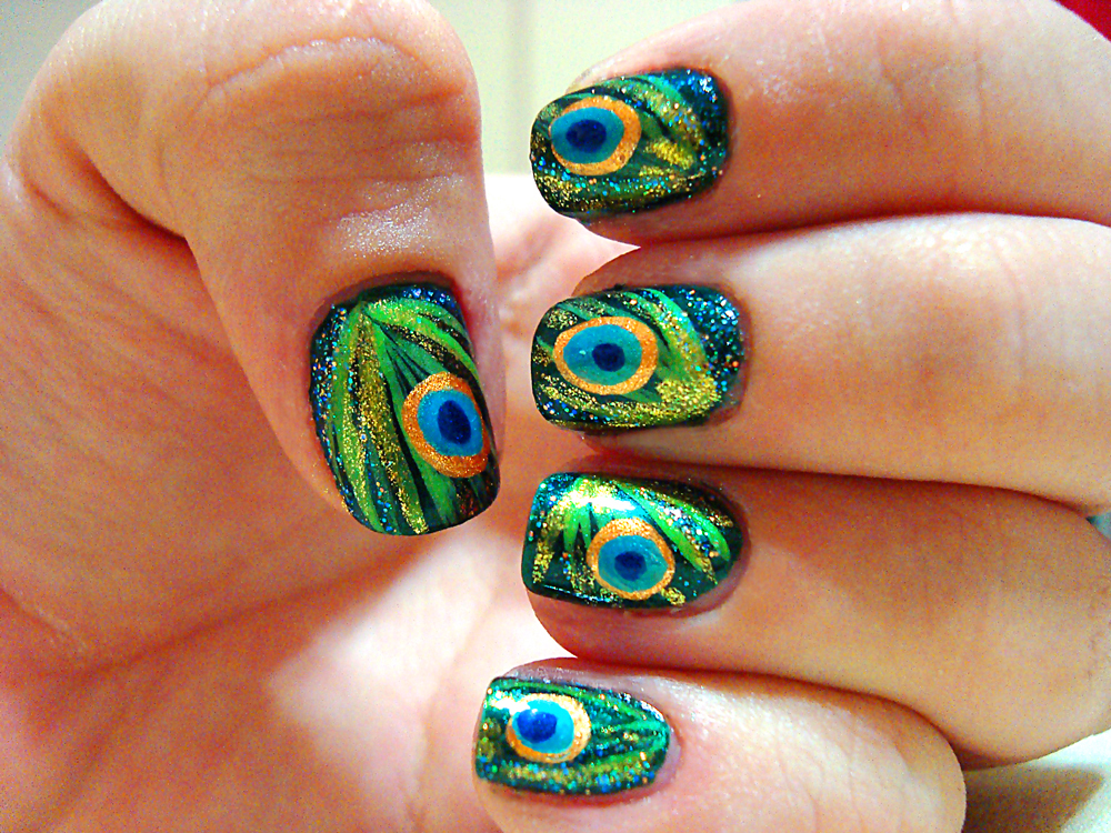 Nails Art: Peacock Feather Nail Art *
