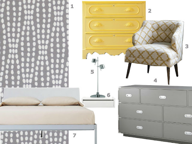 gray and yellow bedroom inspiration board