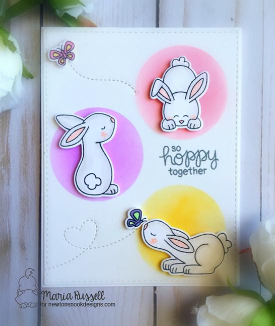 Bunny Card by Maria Russell | Bitty Bunnies Stamp Set and die set by Newton's Nook Designs #newtonsnook
