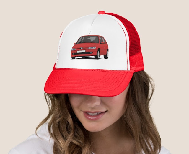 Red Peugeot 306 GTi-6 trucker hat