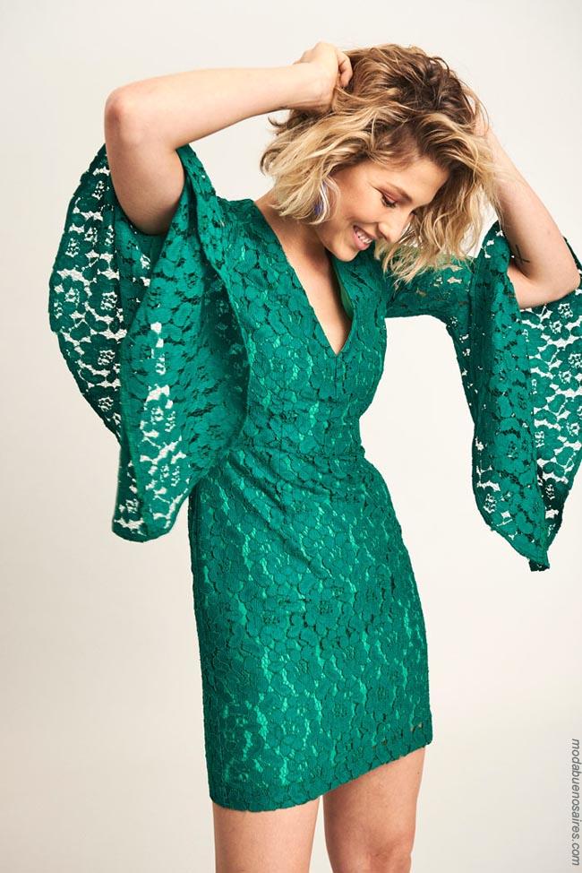 Vestido de encaje verde Markova. Moda mujer 2019.