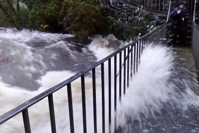 Oughterard waterfall, storm Desmond