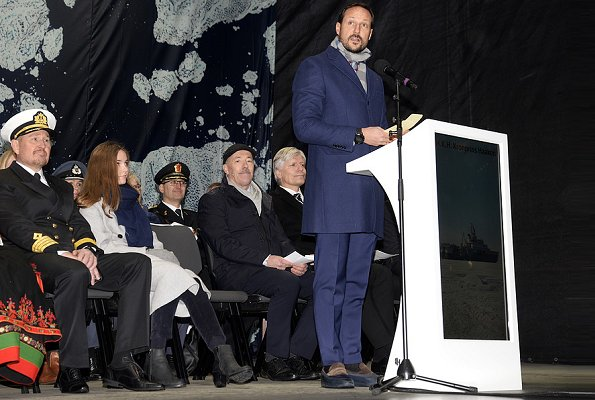 Princess Ingrid Alexandra christened Norway's new research vessel, 'Kronprins Haakon' in Tromsø. Crown Princess Mette-Marit