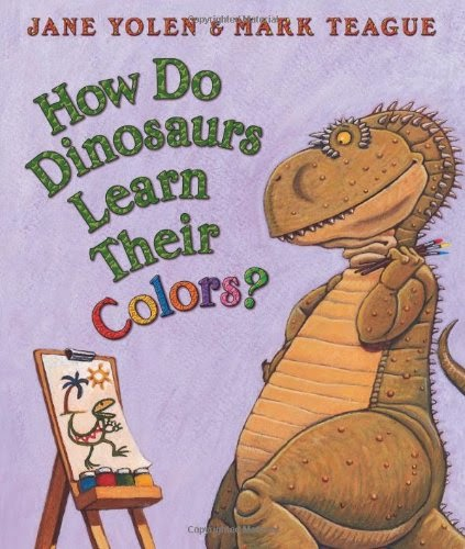 How Do Dinosaurs Learn Their Colors by Jane Yolen, part of book review list about colors and rainbows