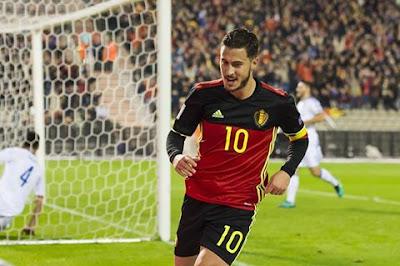 Eden Hazard celebrating his goal for Belgium last night!