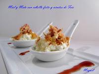 Miel y mató con cebolla frita y virutas de Foie