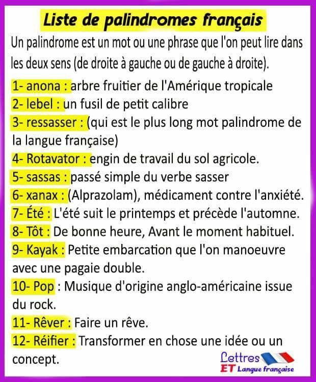 Liste de palindromes français les plus courants