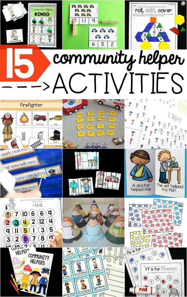 15 ideas for teaching community helpers.  Lots of freebies!