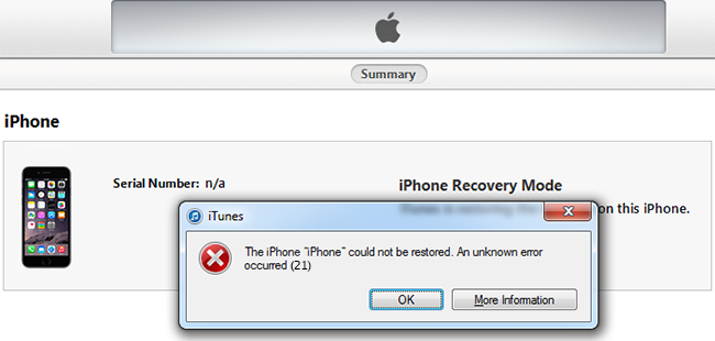 fix iphone error 21