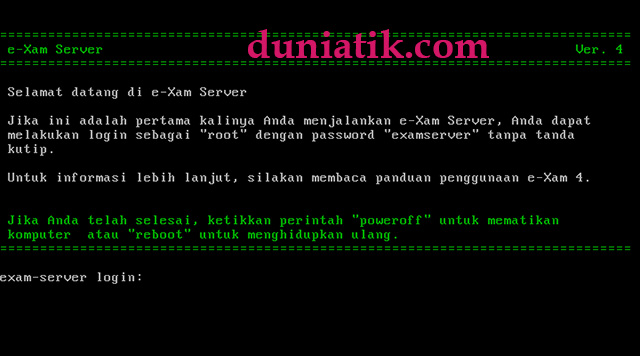 tampilan server e-xam caraka