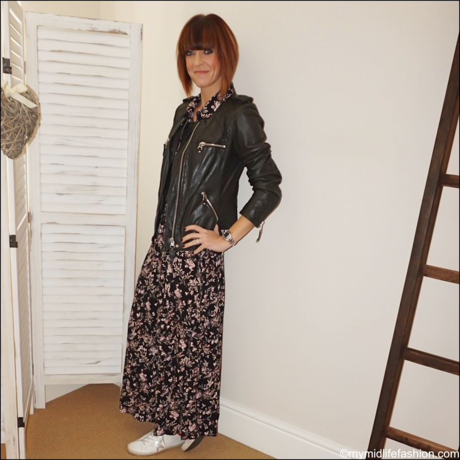 my midlife fashion, isabel marant etoile leather quilted jacket, amazon find women maxi shirt dress, golden goose superstar low top leather trainers