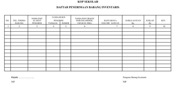 Daftar Penerimaan Barang Inventaris DOCX