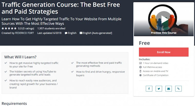 [100% Free] Traffic Generation Course: The Best Free and Paid Strategies